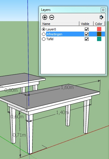 sketchup layers zichtbaarheid