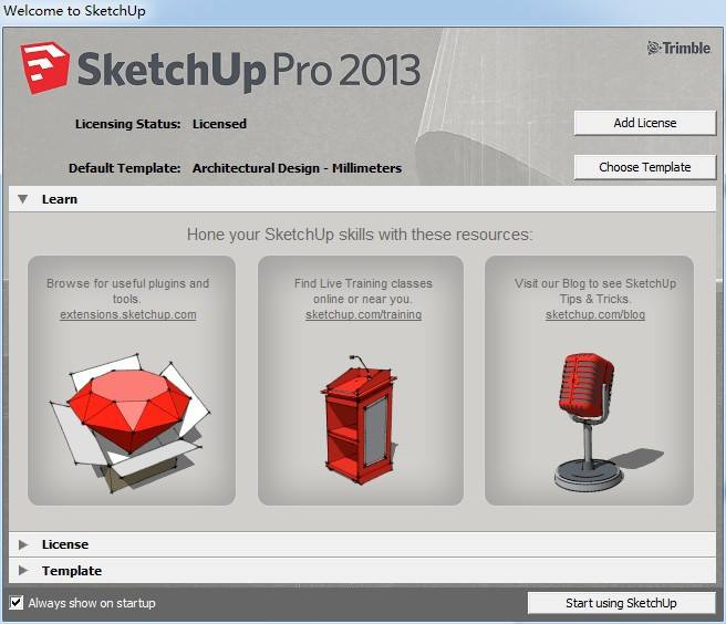 sketchup pro 2013 installatie scherm