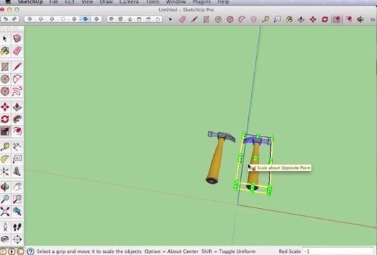 sketchup pro spiegel functie met scale